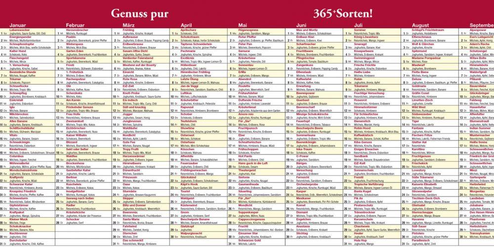 EiZ-Kalender mit 365 Eiskreationen